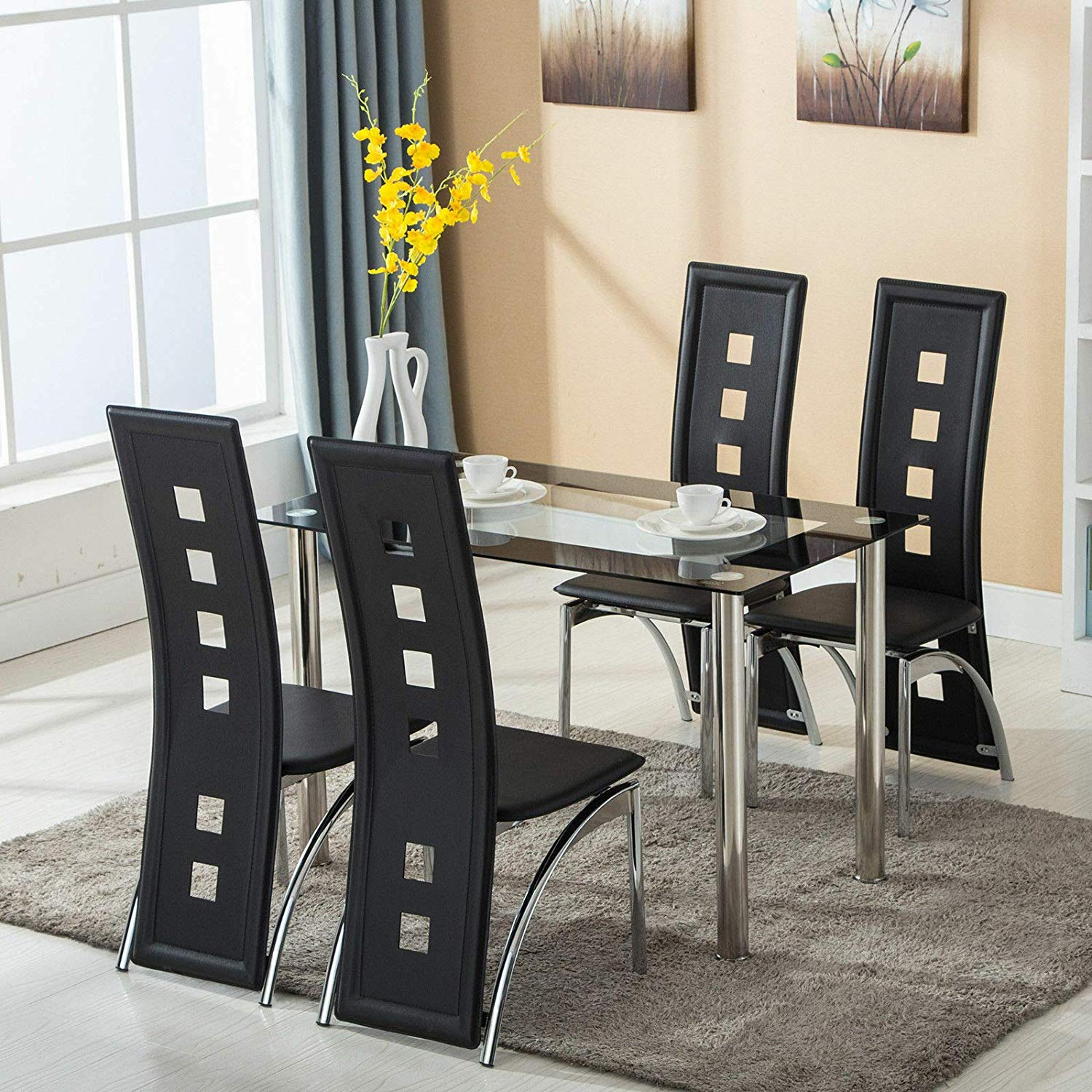 Modern 9 Piece Dining Table Set Tempered Glass Transparent Dining Table  with 9pcs Chairs Room Kitchen Breakfast Furniture 9cm Unique Design Home  ...