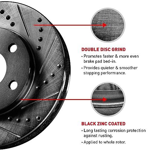 Black Cross-Drilled Brake Rotors /& Semi-Met Brake Pad CBX.3303502 COMPLETE KIT