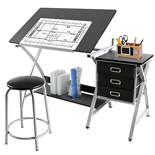 Buy Yaheetech Adjustable Drafting Table Drawing Table Art Craft Desk For Adults W Stool And Storage Drawers Studio Design Work Station Online In Italy B073hxky8t