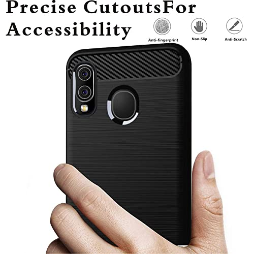 2 Pack Shock Absorption Soft TPU Drawing Protective Cases Cover for Galaxy A20 Black ,Teayoha Carbon Fiber Scratch Resistant Samsung Galaxy A20 Case with Tempered Glass Screen Protector