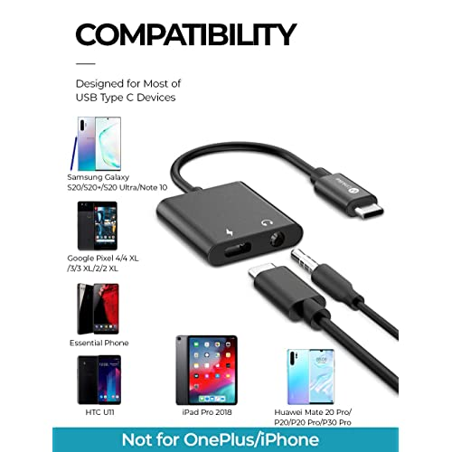 iPad Pro 2018 USB C to 3.5mm Headphone Charge Adapter Essential Phone and More HTC USB-C to 3.5mm Jack Audio Adapter Compatible for Google Pixel 4//4 XL//3//3 XL//2//2 XL Galaxy Note 10//10+