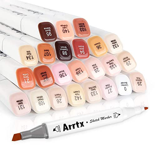 Arrtx 24 Colors Skin Tone Marker Set Dual Tip Twin, Artist Permanent Sketch  Manga Marker Pens for Portrait Illustration Drawing Coloring, Alcohol