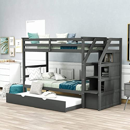 Buy Twin Over Twin Bunk Bed With Trundle Wooden Twin Over Bed Frame With Storage Drawers And Safety Rail Ladder Teens Bedroom Bed Guest Room Furniture Gray Online In Italy B08drk1d8l