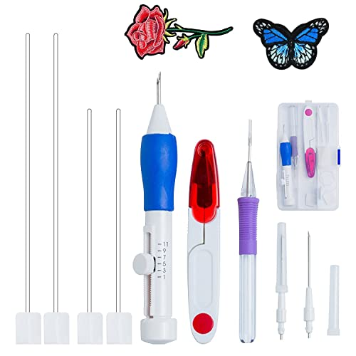 Embroidered Stitching Pen Punch Tool Embroidery Needle Threader DIY Sewing Set L