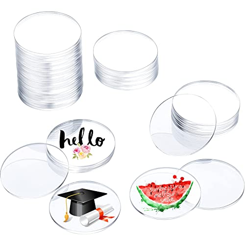 4 Inches 36 Pieces Clear Acrylic Sheet Acrylic Disc Blanks ...