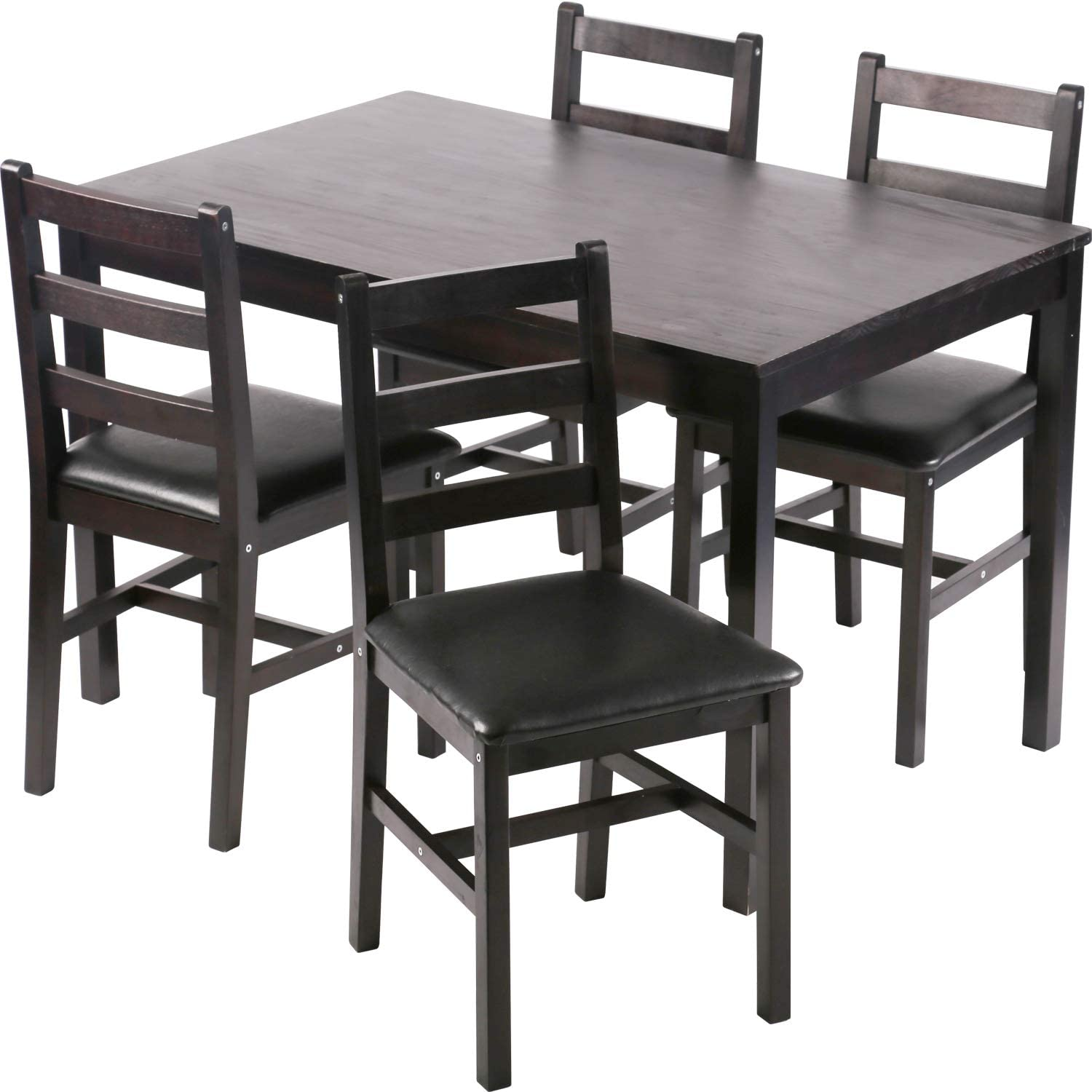 Kitchen Table and Chairs for 9 Dining Room Table Set,Wood Elegant Kitchen  Sets for Small Space,Dark Brown