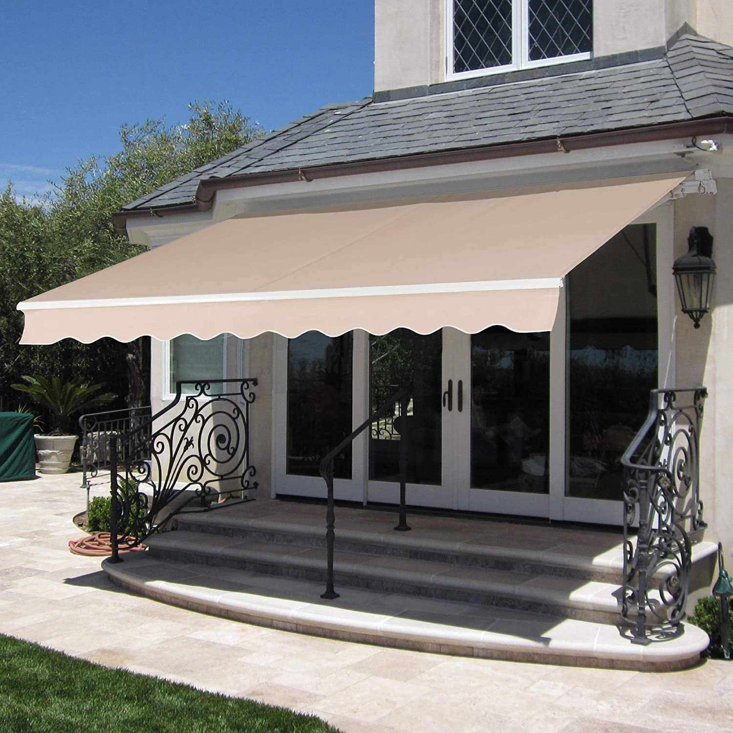 Best Choice Products 20x20in Retractable Awning, Aluminum Polyester Sun  Shade Cover for Patio, Balcony w/UV & Water Resistant Fabric and Crank  Handle ...